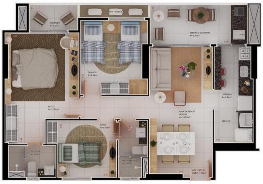 71,90m² | 3 quartos, sendo 2 suítes