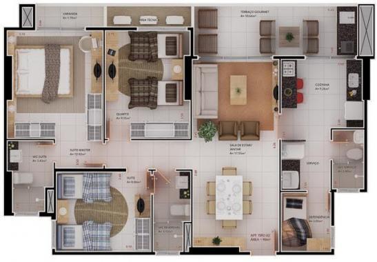 91,70m² | 3 quartos, sendo 2 suítes