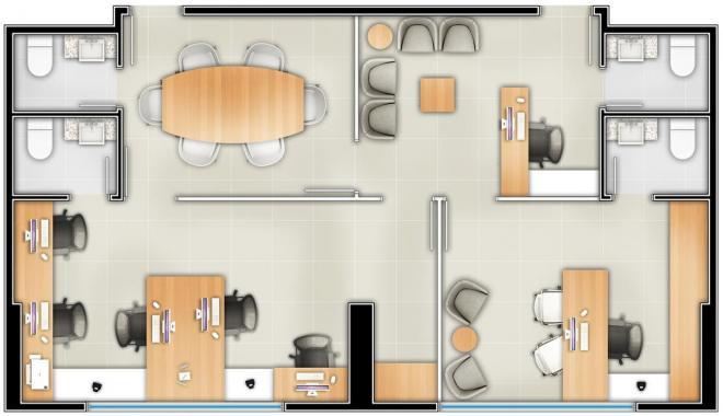 _Workplace | Planta Conjugada Sugestiva Sala Comercial 69,84m²
