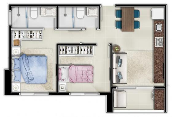 _Habitat | Planta Baixa 2 quartos - 51,32m²