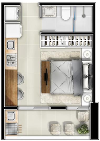 _Habitat | Planta Baixa Studio - 25,73m²
